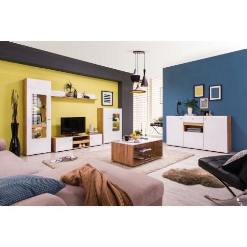 Masuta living Bert, dreptunghiulara, stejar auriu + folie lucioasa alba, 101 x 60 x 45 cm, 1C