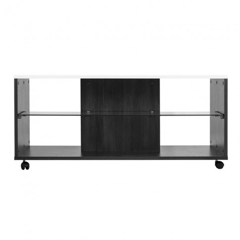 Masuta living Bert, dreptunghiulara, lemn negru + folie lucioasa alba, 101 x 60 x 45 cm, 1C