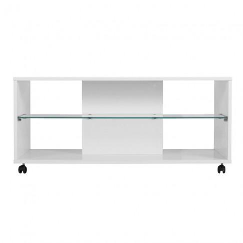 Masuta living Bert, dreptunghiulara, alb mat + folie lucioasa alba, 101 x 60 x 45 cm, 1C