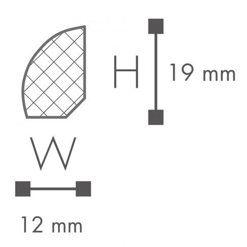 Plinta decorativa polimer dur FL6, timeless, alba, 200 x 1.9 x 1.2 cm