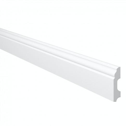 Plinta decorativa polimer dur Wallstyl FB1, alba, 200 x 6 x 1.3 cm