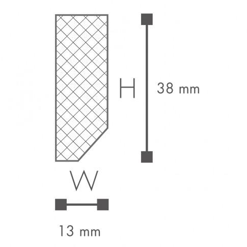Plinta decorativa polimer dur FT1, modern, alba, 200 x 3.8 x 1.3 cm