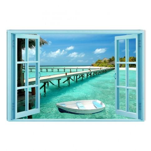 Tablou dualview DTB6688, Fereastra spre paradisul acvatic, canvas + lemn de brad, stil peisaj, 60 x 90 cm