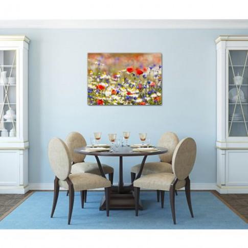 Tablou dualview DTB7975, Camp cu flori, canvas + lemn de brad, 60 x 90 cm