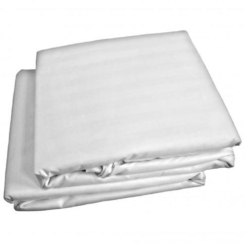 Lenjerie de pat Microfibra satin, 2 persoane, poliester 100%, 4 piese, alb