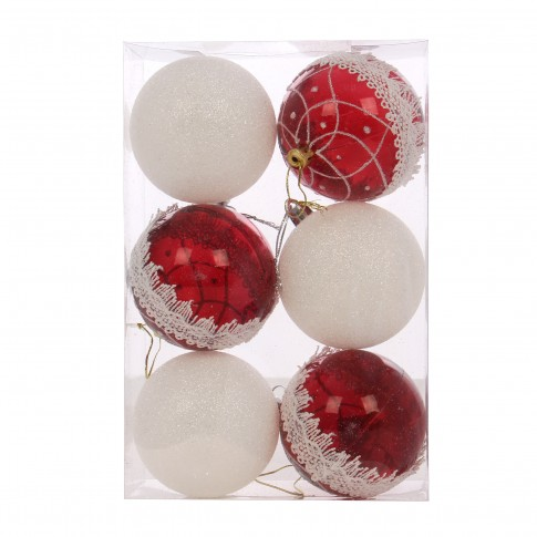 Globuri Craciun, rosu + alb, D 8 cm, set 6 bucati, SY18CD-013