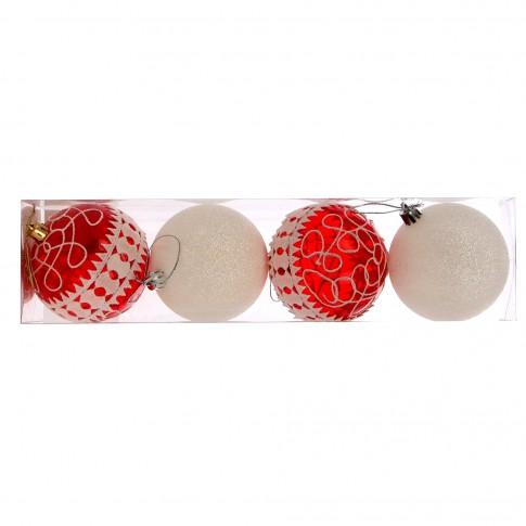 Globuri Craciun, rosu + alb, D 8 cm, set 4 bucati, SY18CD-014