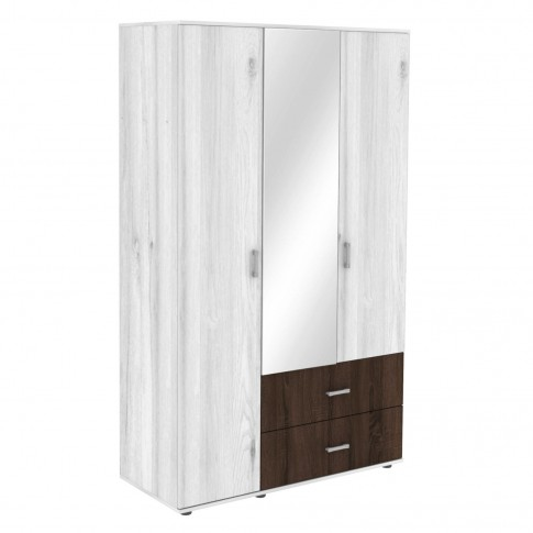 Dulap dormitor Raul, gri A480 + sonoma dark, 3 usi, cu oglinda, 120 x 52 x 206 cm, 3C