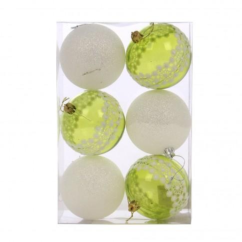 Globuri Craciun, verde + alb, D 8 cm, set 6 bucati, SY18CD-024