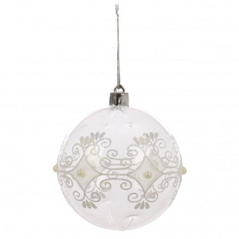 Globuri Craciun, transparent + alb, D 8 cm, set 6 bucati, SY18CD-041
