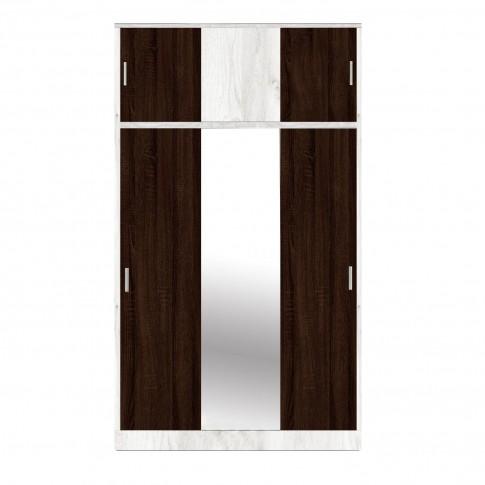 Dulap dormitor Raul D3, gri A480 + sonoma dark, 6 usi glisante, cu oglinda, 120 x 50 x 210 cm, 3C