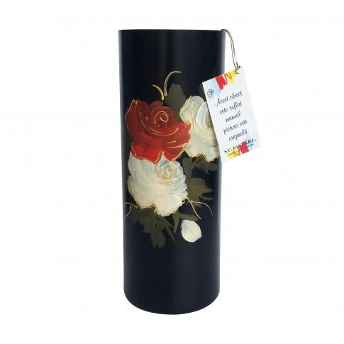 Vaza decorativa, cilindrica, din sticla pictata, neagra, model trandafiri, 12 x 30 cm