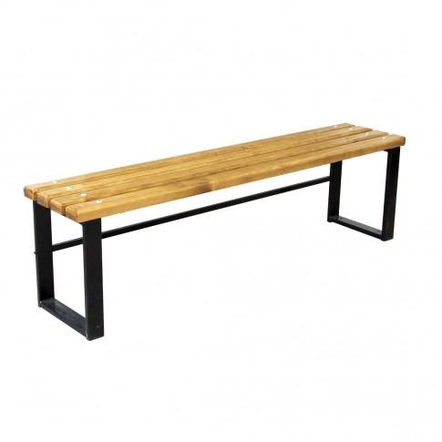 Banca pentru gradina, parc, fara spatar, metal + lemn, 3 persoane, 160 x 34 x 44 cm, Iris