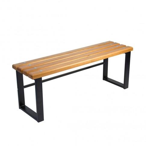 Banca pentru gradina, parc, fara spatar, metal + lemn, 2 persoane, 120 x 34 x 44 cm, Iris