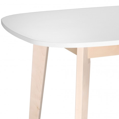 Masa bucatarie extensibila Naiss 0114TAREC, ovala, 8 persoane, alb + natur, 160 / 200 x 90 x 75 cm, 1C