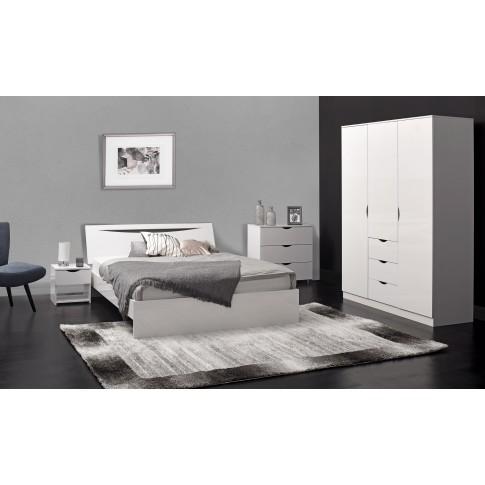 Comoda dormitor Letty 3010CO3TC, cu 3 sertare, alb lucios, 81 x 80 x 39 cm, 1C