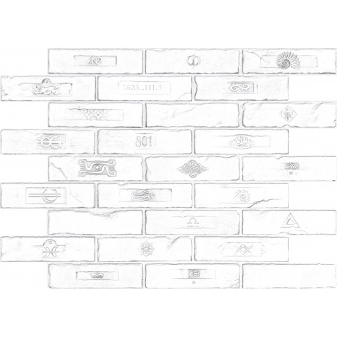 Panou decorativ Brick Craft, PVC, alb, 89.6 x 64.2 cm, 0.6 mm