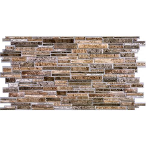 Panou decorativ Stone Brown Plastushka, PVC, maro, 98 x 48.9 cm, 0.4 mm