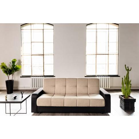 Canapea extensibila 3 locuri Amsterdam, cu lada, crem + negru, 225 x 90 x 95 cm, 1C