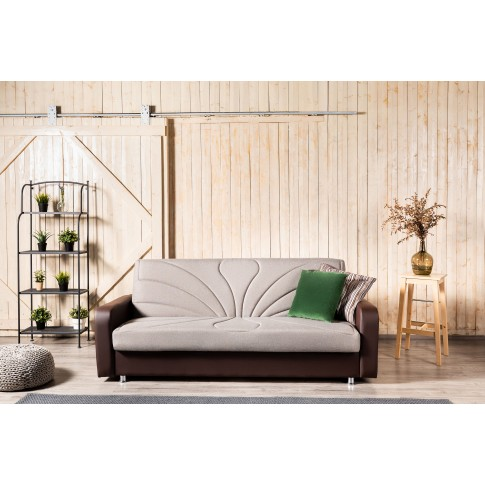 Canapea extensibila 3 locuri Maria, cu lada, gri + maro, 220 x 90 x 95 cm, 1C