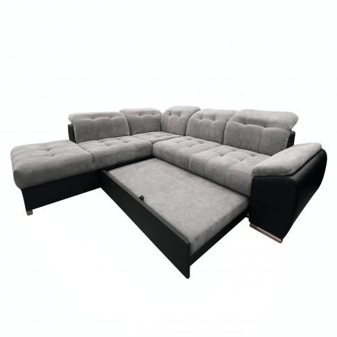 Coltar living extensibil pe dreapta Enzo, gri + negru, 260 x 225 x 80 cm, 2C