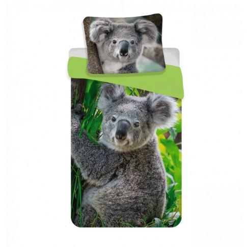 Lenjerie de pat, copii, 1 persoana, Koala, bumbac, 2 piese, cu imprimeu