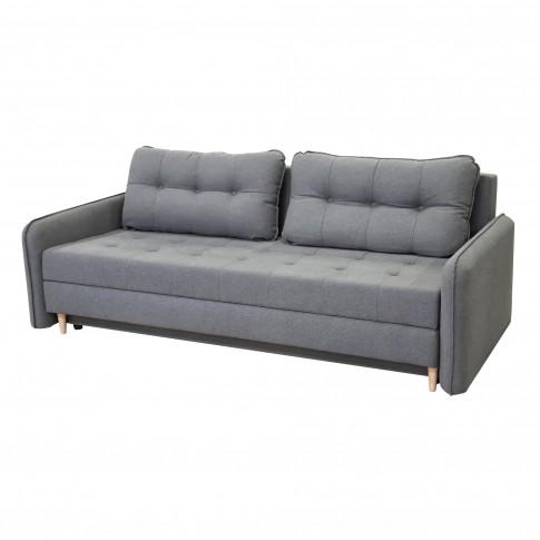 Canapea extensibila 3 locuri Lucky, cu lada, gri, 225 x 95 x 75 cm, 2C