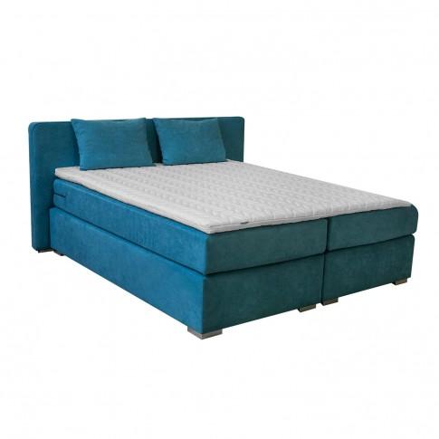 Pat dormitor Boxspring Bold, matrimonial, tapitat, albastru, cu saltea + topper, 180 x 200 cm, 5C