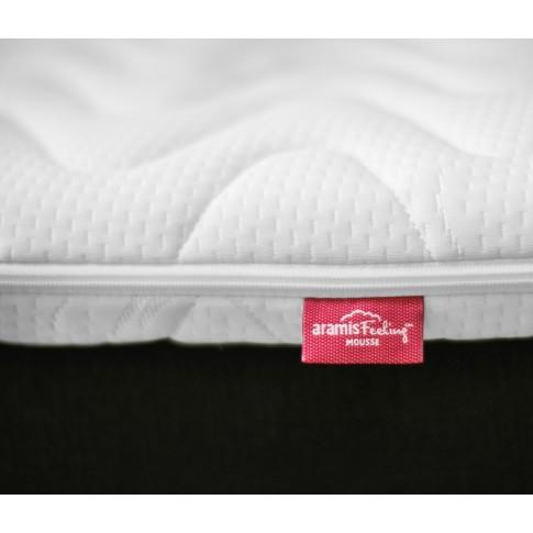 Pat dormitor Boxspring Tender, matrimonial, tapitat, negru, cu saltea + topper, 160 x 200 cm, 3C