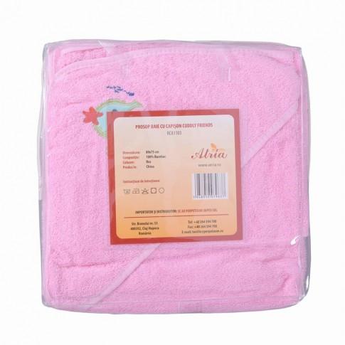 Prosop baie Cuddly Friends, pentru bebelusi, cu capison, bumbac, roz, 75 x 80 cm