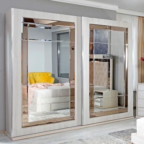 Dulap dormitor Opera L250/H230, ulm deschis, 2 usi glisante, cu oglinda, 250.5 x 62 x 230 cm, 10C