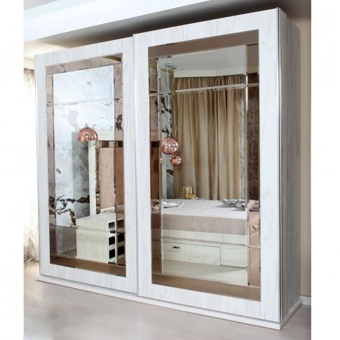 Dulap dormitor Opera L250/H230, alb craft, 2 usi glisante, cu oglinda, 250 x 65 x 230 cm, 10C