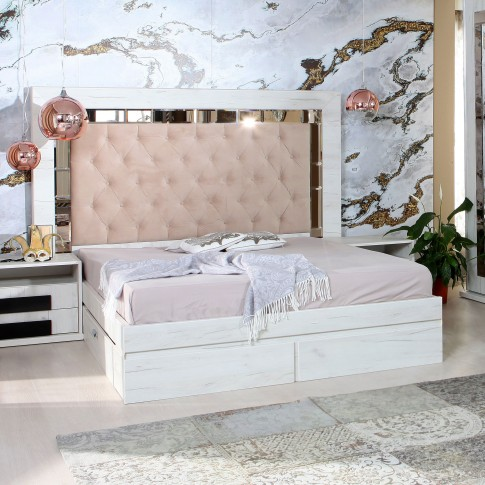 Pat dormitor Opera, matrimonial, tapitat, cu sertare, alb craft, 180 x 200 cm, 5C
