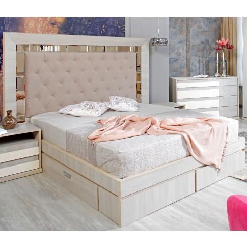 Pat dormitor Opera, matrimonial, tapitat, cu sertare, ulm deschis, 180 x 200 cm, 5C