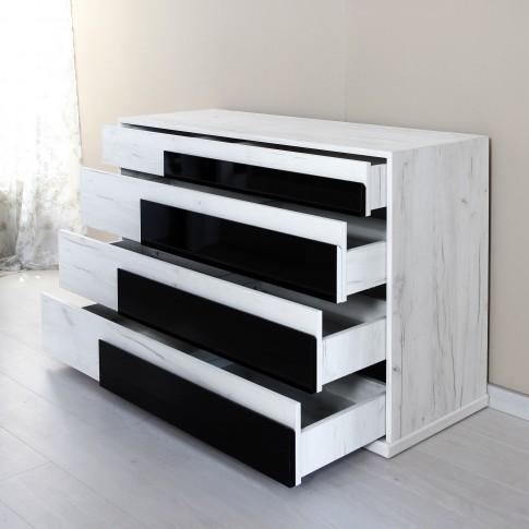 Comoda dormitor Opera M4, cu 4 sertare, alb craft + negru lucios, 130 x 50 x 89 cm, 5C
