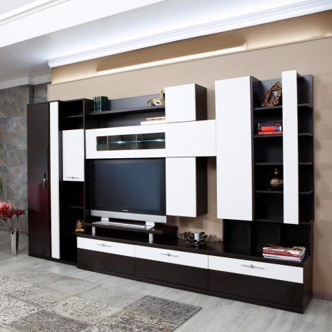 Biblioteca living Pallas Domino, wenge + crem lucios, 340 cm, 14C