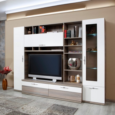 Biblioteca living Vanity, ulm inchis + alb lucios, 265 cm, 13C