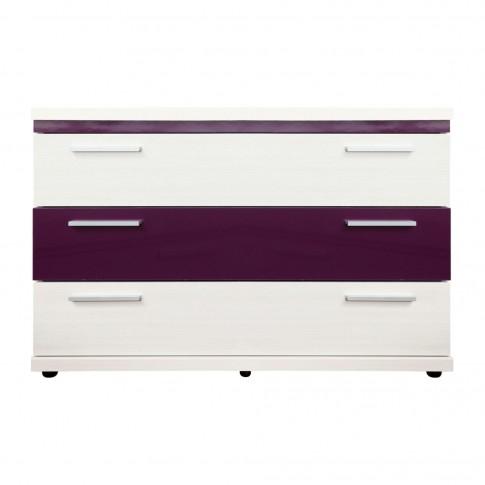 Comoda dormitor Vogue P3, cu 3 sertare, alb + mov lucios, 114 x 74 x 44 cm, 5C