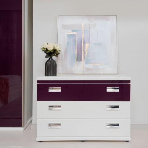 Comoda dormitor Vogue P3, cu 3 sertare, alb front + mov lucios, 114 x 44 x 78 cm, 5C