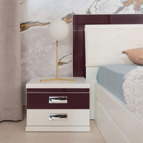 Noptiera Vogue P2, cu 2 sertare, alb front + mov lucios, 51 x 38 x 43.5 cm, 2C