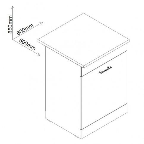 Corp inferior bucatarie Smart 600, cu blat, pentru cuptor, stejar A458, 60 x 60 x 85 cm, 2C