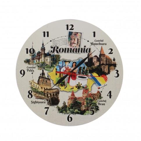 Ceas perete ES28220, analog, rotund, din lemn, diametru 29 cm