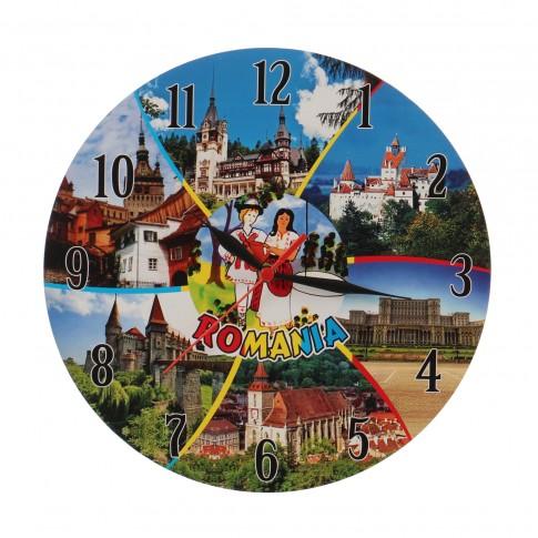 Ceas perete ES28221, analog, rotund, din lemn, diametru 29 cm