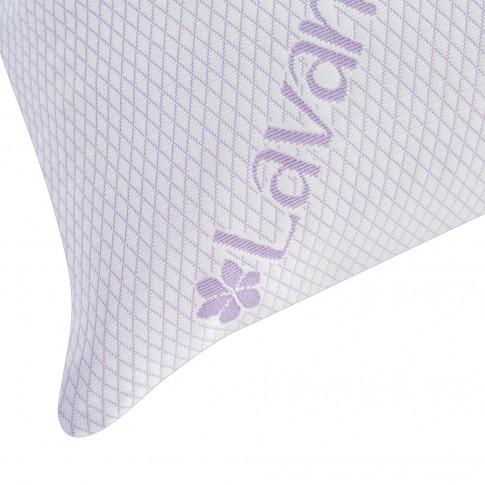 Perna pentru dormit Lavanda Therapy Memory, fulgi memory + tricot cu lavanda, alb + mov, 50x70 cm