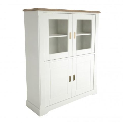 Biblioteca living Cottage, stejar natur + alb, 341 cm, 6C