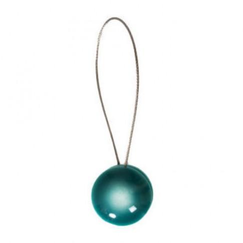 Magneti decorativi perdea si draperie, Pearls, forma rotunda, fir metalic de fixare, albastru, 19 x 4 cm