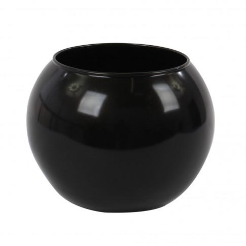 Vaza decorativa 43417, din sticla, neagra, h 10 cm