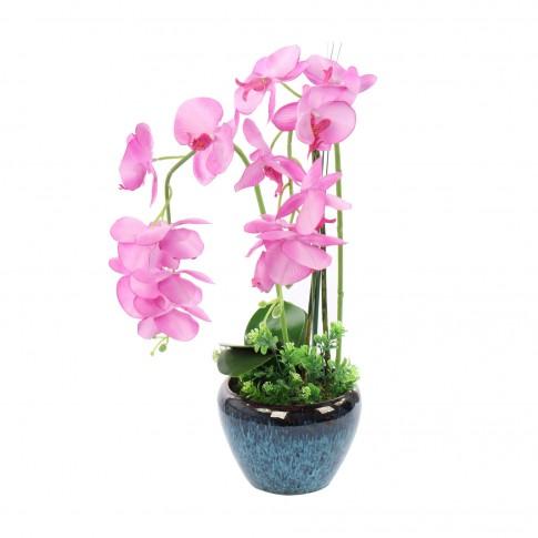 Floare artificiala T-0026, orhidee roz, 65 cm