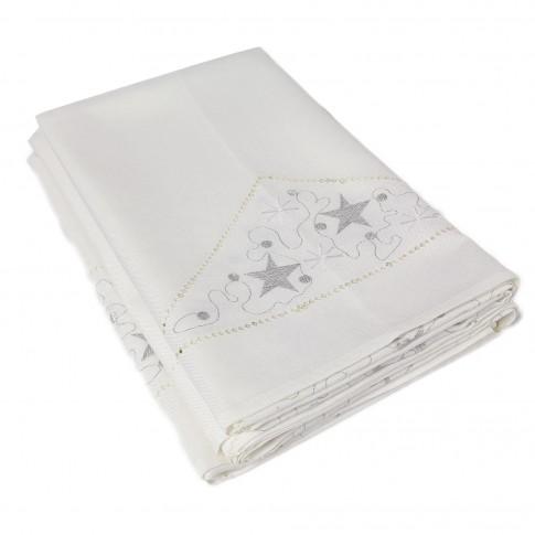 Fata de masa K21127A, model Craciun, poliester, alb, 140 x 220 cm