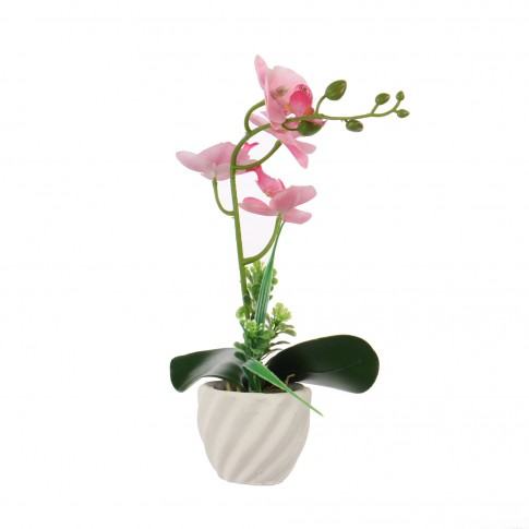 Floare artificiala JYH-3415, orhidee roz, 30 cm